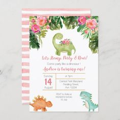 Pink & Gold Girl Dinosaur Birthday Invite Dinasour Birthday, Dinosaur First Birthday, Girl 2nd Birthday, Dinosaur Party, Birthday Ideas, 1st Birthday Invitations Girl, Dinosaur Invitations, Pink Invitations, Invitation Ideas