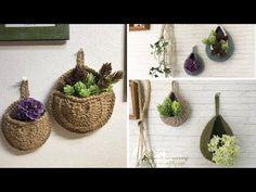 [かぎ針編み]ハンキングバスケットを編んでみました☆ - YouTube Plushie Patterns, Crochet Home, Knitted Bags, Crochet Flowers, Plushies, Wicker Baskets, Plant Hanger, Plants, Youtube