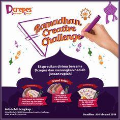 #InfoLomba #LombaDesain #DesainKemasan #PackagingDesign #Dcrepes #RamadhanCreativeChallenge Dcrepes Ramadhan Creative Challenge 2018 Berhadiah 5 Juta Rupiah  DEADLINE: 19 Februari 2018  http://infosayembara.com/info-lomba.php?judul=dcrepes-ramadhan-creative-challenge-2018-berhadiah-5-juta-rupiah