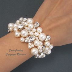 Bridal Bracelet Pearl Wedding Bracelet Vintage by adriajewelry Pearl Necklace Wedding, Wedding Earrings Drop, Rhinestone Wedding, Bridal Earrings, Wedding Jewelry, Drop Earrings, Bridal Cuff, Bridal Bracelet, Beaded Bracelets