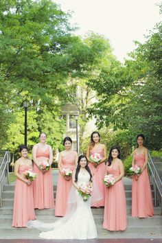 Coral bridesmaids dresses - floor-length chiffon gowns with varying necklines {Vanessa Joy Photography}