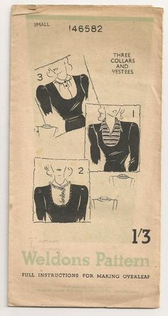 Original vintage paper sewing pattern from the 1940s.  Weldons pattern number 146582.  To sew a set of three collars and vestees.  Size