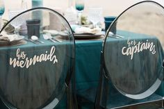 "You Have To See These ""His Mermaid & Her Captain"" Reception Chairs! - If you're a mermaid at heart, you are going to fall head over ""fin"" for these DIY wedding reception chair signs that say ""his mermaid and… Wedding Reception Chairs, Wedding Chair Signs, Reception Ideas, Wedding Receptions, Wedding Table, Little Mermaid Wedding, Beach Wedding Inspiration, Wedding Ideas, Wedding Stuff"
