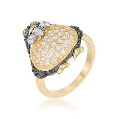 Jet Black Cubic Zirconia Penguin Fashion Ring