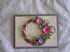 Newest wreath card using Memory Box grape vine wreath.  Susan Bagley  SueBee Cards