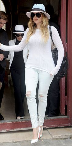 Trend Alert! Celebrities Wearing White Shoes: Khloe Kardashian completed her head-to-toe white ensemble made up of a sweater and jeans with Christian Louboutin pointed pumps. #InStyle