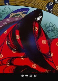 kirie, paper cutout artist Masayuki Miyata, Chu-sei Kuro-kami (The Black Hair of The Middle Age) Oriental, Cut Out Art, Geisha Art, Peace Art, Fantasy Paintings, Witch Art, Fairytale Art, Art For Art Sake, Japanese Prints