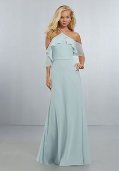 Chiffon Bridesmaids Dress with Flounced Neckline Mori Lee Bridesmaid, Bridesmaid Dress Styles, Bridal Dresses, Bridesmaids, Chiffon Gown, Chiffon Fabric, Cold Shoulder Gown, A Line Gown, Fall Skirts