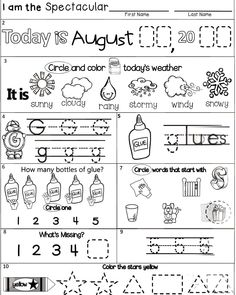 Printable, Free, Kindergarten Morning Work Sample includes 3 page options, differentiated for your students at the beginning of the year. Students will practice the date, weather, letters, counting, numbers, colors, and shapes. Just directly teach students how to complete each box daily until students get the hang of it. Then, they should be able to work independantly so you can finish your morning tasks. #kindergarten #kindergartenworksheets Kindergarten Morning Work, Kindergarten Classroom, Kindergarten Worksheets, Smart Board Lessons, Language Arts Worksheets, Bell Work, Todays Weather, Life Skills, First Names