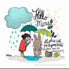 """[M.A.R.S] """"La pluie c'est pas toujours triste! Surtout avec du chocolat !"""" Crayon d'humeur #hellomars #bienvenumars #amènelesoleil #çasentleprintemps #lechocolatcestlavie #crayondhumeur"""