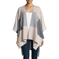 Neiman Marcus Cashmere Collection Intarsia Plaid Cashmere Poncho (£265) ❤ liked on Polyvore featuring outerwear, tartan poncho, cashmere poncho, plaid poncho and open front poncho
