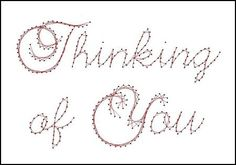 Thinking of You Sentiment Paper Embroidery Pattern for Greeting Cards