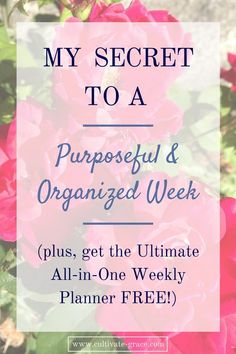 My Secret to a Purposeful and Organized Week, plus a FREE weekly planner for your meal plans, exercise routine, cleaning schedule and bible study plan! Everything in one place adds true simplicity to every day. Click to get yours now!