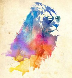 Sunny Leo Art Print by Robert Farkas / Society6 (lion,watercolor,rainbow,sunglasses,chill time)  this would make a perfect tattoo for me.