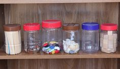Use Peanut Butter jars to store small math manipulatives!