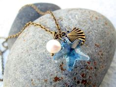 Starfish Necklace Fresh Water Pearl Necklace by pearlatplay, $22.40