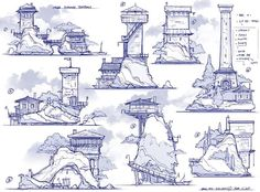 Tower styles by Feng Zhu Fantasy City, Fantasy Castle, Fantasy Map, Environment Concept Art, Environment Design, Landscape Concept, Fantasy Landscape, Building Sketch, 3d Modelle