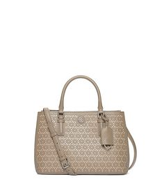 ROBINSON FLORAL PERFORATED MINI DOUBLE-ZIP TOTE