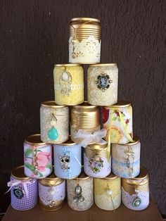Latas decoradas: 70 ideias legais para o lar - Basteln - Aluminum Can Crafts, Tin Can Crafts, Recycled Tin Cans, Recycled Crafts, Home Crafts, Diy And Crafts, Arts And Crafts, Mason Jar Crafts, Bottle Crafts