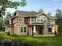 Rear Elevation of Bungalow   Craftsman   House Plan 87574