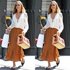 Olivia Palermo street style: brown polkadot maxi skirt, white bloused shirt, flats