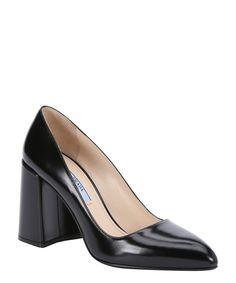 PRADA Black Leather Block Heel Pumps'. #prada #shoes #pumps & high heels