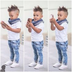 Toddler Kid Baby Boys White T-shirt + jeans +scarf Clothes Outfit Set Suit. Toddler Infant Girls Outfits Headband+T-shirt+Floral Pants Kids Clothes Set. Little Boy Fashion, Baby Boy Fashion, Toddler Fashion, Fashion Kids, Fashion Clothes, Dress Clothes, Fashion Shirts, Casual Clothes, Fashion Accessories