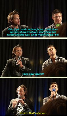 J2 get into the act and joke about Adam :D NJCon2014 - click through for full GIFSET...