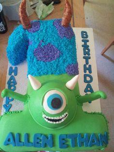 Monsters Inc Cake Mike Sully buttercream fur 1st birthday