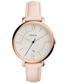 Add a touch of elegance with this Jacqueline watch by Fossil, featuring regal Roman numerals and blush pink tones. | Blush leather strap | Round rose gold-tone stainless steel case, 36mm | White dial
