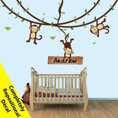Monkey Wall Decals Swinging Monkeys on Vines by NurseryDecalsNMore, $89.99