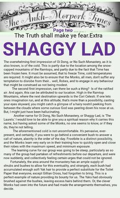 The Ankh-Morpork Times. The Truth shall make ye fear. Extra. SHAGGY LAD. page two, by David Green 13 July 2016