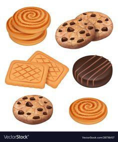 Cookies biscuits with chocolate and cream pieces Vector Image , Chocolate Biscuit Recipe, Chocolate Biscuits, Chocolate Cookies, Desserts Drawing, Cookie Bakery, Cute Food Art, Cute Food Drawings, Food Sketch, Bakery Logo