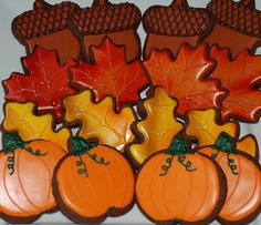Autumn / Fall leaves - Thanksgiving Cookies - One Dozen Decorated Sugar Cookies