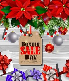 Boxing day sale tag with evergreen trees with poinsettia christmas lights isolated on wooden wall gift boxes and candy canes