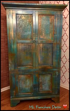 Gorgeous Armoire refinished in Bermuda Blending Technique with textured door panels. By Maria A Revollo (Technique Creator)