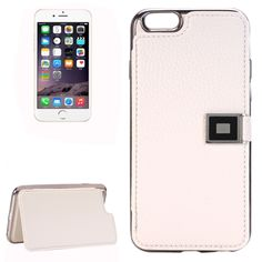 [$3.50] For iPhone 6 & 6s Litchi Texture Horizontal Flip Leather Case with Holder & Card Slots(White)