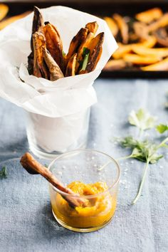 Simple Sweet Potato Fries with Turmeric Tahini Dip | Nutrition Stripped