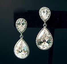 Gorgeous wedding earrings with major sparkle! @My Glass Slipper