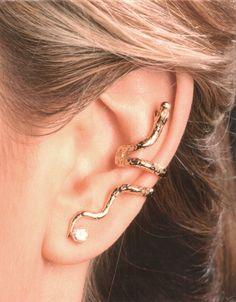 Piercing Imitation LOVE Black Cartilage Ear Cuff TWO HEARTS/fake faux false piercing/ohrklemme ohrclip/ear wires jacket/black ear manschette - Custom Jewelry Ideas Snake Jewelry, Ear Jewelry, Crystal Jewelry, Crystal Earrings, Diamond Earrings, Jewelry Accessories, Skull Jewelry, Hippie Jewelry, Snake Earrings
