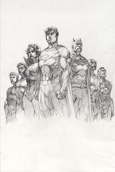 Superman & Justice League by Jim Lee Comic Book Artists, Comic Book Characters, Comic Artist, Comic Character, Comic Books Art, Character Design, Arte Dc Comics, Dc Comics Art, Illustrations