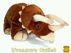 Jaag Stuffed Plush Beanie Brown Triceratops Three Horn Dinosaur 18in