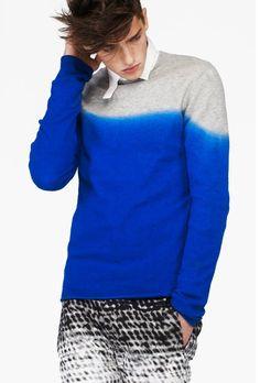 Ann Demeulemeester Blue Dip Dyed Knit Sweater