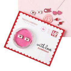 Sweet little earrings packaged like a love letter!
