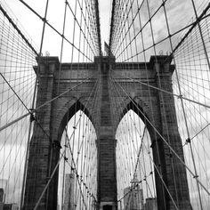 Brooklyn Bridge Black and White Poster by KrajsaCreations on Etsy, $7.00