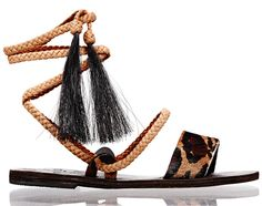 Shopping mode Les 30 sandales de l'été : Sandales montantes Karen en cuir tressé, Brother Vellies, imprimé léopard http://www.vogue.fr/mode/shopping/diaporama/les-30-sandales-mode-de-lete-2015/21052/carrousel