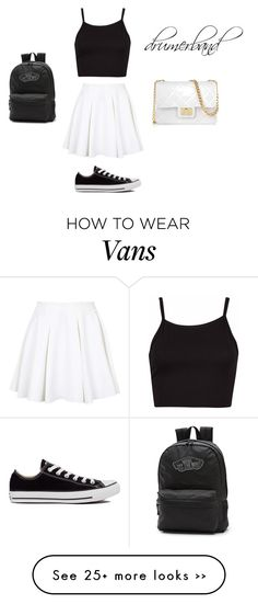 """black - white set by drumerband"" by drumerband on Polyvore featuring мода, Topshop, Vans, Converse и Design Inverso"
