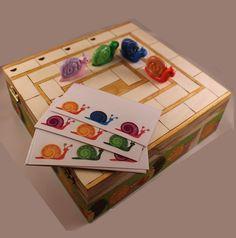 Jeu enfant, bois,Tiercé escagots, course à l'escargot selon les couleurs : Jeux, jouets par ludifimo