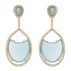 Beutifull blue agate 14K drop earrings.