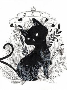 Cat triptic on behance drawing ideas em 2019 art, cat art e illustration. Art Inspo, Illustration Art Nouveau, Black Cat Illustration, Cat Illustrations, Halloween Illustration, Art Du Croquis, Fantasy Magic, Art Mignon, Arte Sketchbook
